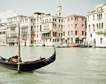 Venice Photography Venice Italy pale blush pink pastel wall art white decor boat photograph 'Bella Venezia'