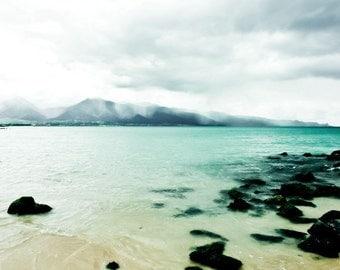 "Beach ocean photography print, aqua teal blue water tropical decor dreamy Hawaii art ""Sea of Love"""