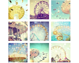 Carnival photography print set, ferris wheel, merry go round, whimsical nursery room decor, kids baby room art, nine prints