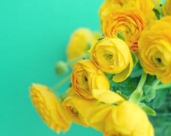 Botanical photography print turquoise aqua teal lemon yellow baby room wall art - Happy Together