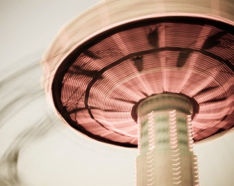 """Carnival Photography Motion Blur Salmon Pink Surreal Photograph Teen Room Art Dorm Room Decor """"Spinning Top"""""""