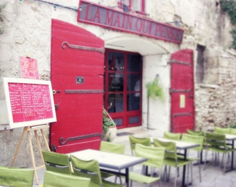Red cafe in France - french outdoor cafe - chalkboard - red kitchen dining room art - Red Menu
