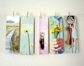 Five Bookmarks -  reading gift bookmark collection small stocking stuffer - gift under 10