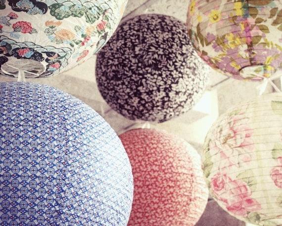 Paper lanterns photography print soft pastel floral pink blue wall art fine art photography - Paper Lanterns