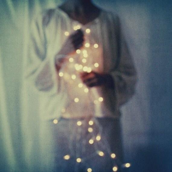 "Fine art photography - stardust - celestial - sparkle - stars - bokeh lights - dreamy portrait - indigo blue ""Light from the Heart"""