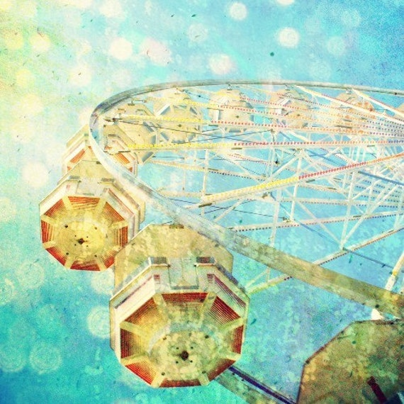 "Aqua blue nursery decor / ferris wheel photography / carnival ride art / gold aquamarine / lemon teal / kids room 8x8 ""Sunshine Daydream"""