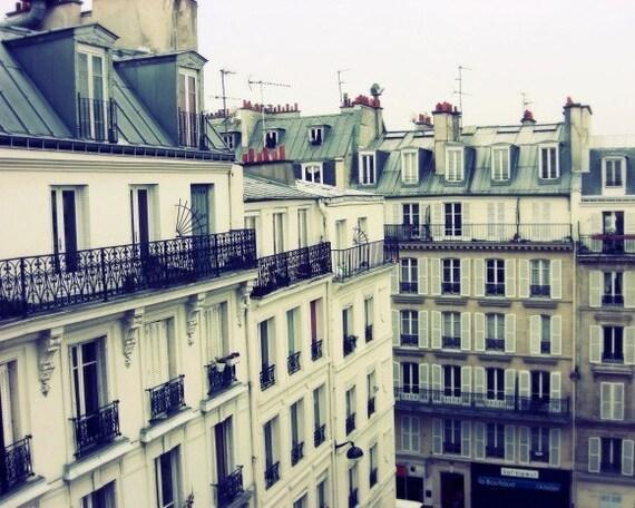"Paris photography slate blue gray Paris decor french wall art city architecture rooftops wall art ""Montmartre"""