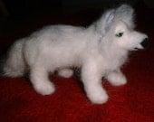 Needle Felted OOAK Dog Wool Sculpture Wolf by Artist Karen Clothier