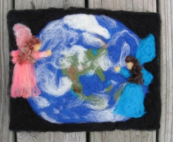 Needlefelt Art Original OOAK Earth Friendly Needle Felted Portrait  Large by Artist Karen Clothier