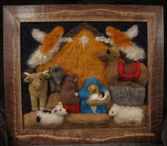 Spirit Art CUSTOM Commissioned Three Dimensional Nativity Scene Framed by Artist Karen Clothier
