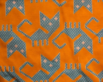 vintage 1960s 70s blue yellow avant garde new wave cat novelty print fabric cotton blend 2.72 yards x 44 in w