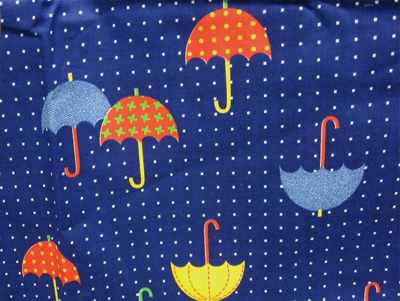 vintage 1970s umbrellas rain showers pattern fabric multi color novelty print blue red yellow plaid polka dot 44 in x 2 yards