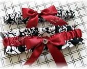 Black and White Damask with Dark Red Wedding Bridal Garter Set