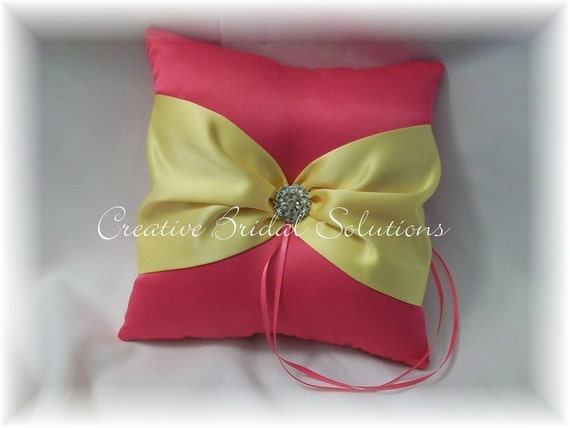 Shocking Pink and Yellow Wedding Ring Bearer Pillow
