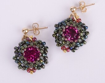 Gold Filled Stud Earrings with Fuchsia Swarovski Crystal Stone and Dark Green Seed Beads. Round Beadwoven Crystal Earrings. S104