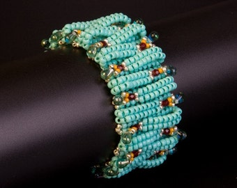 Turquoise Beaded Bracelet with Touches of Ruby, Silver and Mustard Yellow and with Silver Plated Slide Clasp. Layered Textured Bracelet. S37
