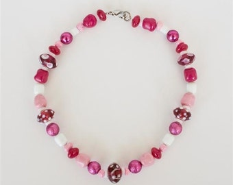 Necklace with Cherry Red, Fuchsia, Hot Pink and White Beads in Few Sizes, Shapes and Finishes. Strung Colorful Necklace Large Beads S277