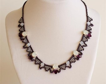 Purple Necklace with Beaded Triangles and Swarovski Crystals in White Opal, Soft Golden Grey, Amethyst and Plum. Bib Style Necklace S157