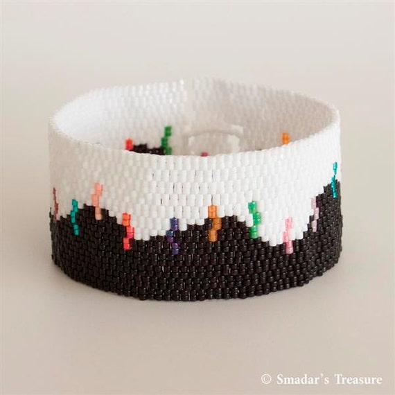 Black and White Peyote Bracelet with Multicolor Stripes. Abstract Beaded Cuff Bracelet for Young Women. Colorblock One Of A Kind OOAK S246