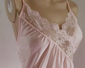 Vintage Nylon Nightgown Baby Pink Lace Inset by Bernette New York Size Medium M 70s
