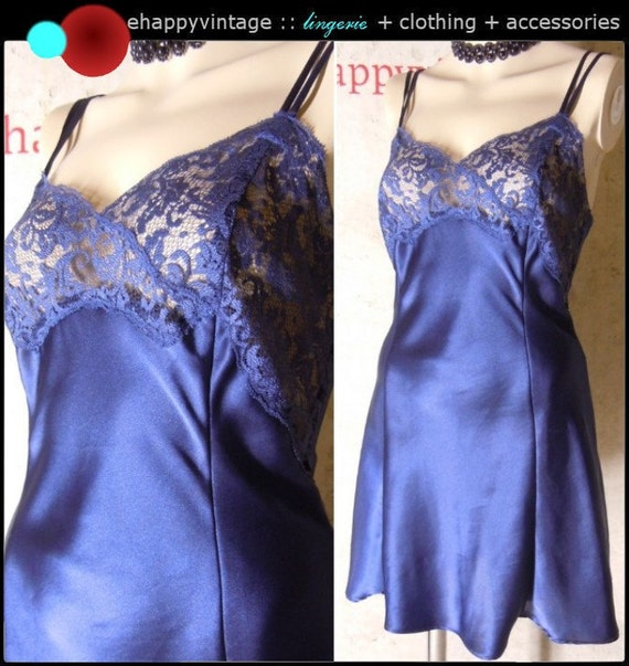 TABITHA Vintage Victoria's Secret Satin Charmeuse Nightgown Short Dark Blue Lace Bust Size Small S