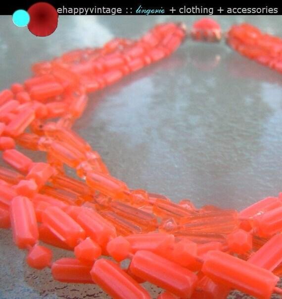 Vintage 60s Mod Day Glo Orange Bead Necklace Hong Kong Plastic Multi Strand Goldtone Settings