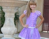Rapunzel short set design by TinkerellaCreations boutique custom size 2-8  purple lavendar or pink shades of cotton fabrics