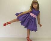 Custom JUNE Einstein boutique dress in purple any child size from 6 to 10 unique design by Tinkerella Creations
