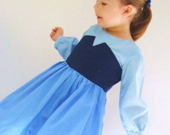 Ariel KISS THE GIRL day dress in blue for your little mermaid under the sea boutique size 12 months to 8 years by Tinkerella Creations