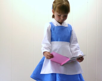 Belle Everyday dress Custom boutique in girls size 2T to 6/7 in blue and white by TinkerellaCreations