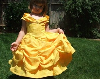 Beautiful BELLE Ball gown in Boutique size 2T to 6  SALE price in golden or pale yellow cotton