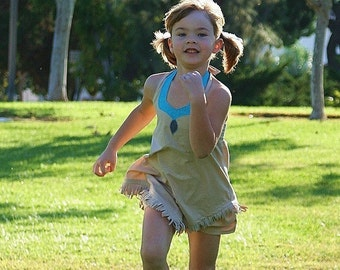 Pocahontas shorts set in tan brown and turquoise blue in boutique size 2T to girls extended sizes up to a 10 by TinkerellaCreations