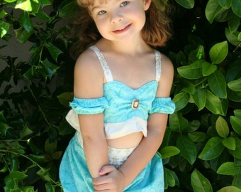 ALADDIN style Princess Jasmine sun suit set in aqua blue green CUSTOM boutique set size from 2T to girls 6/7