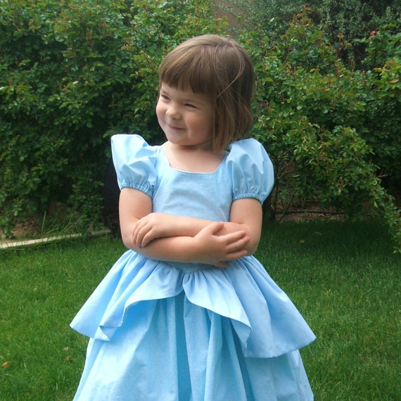 The Cinderella Ball gown made in any size 12 months to 8 years in light blue comfortable washable cotton