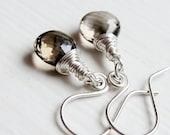 Smokey Quartz Earrings -   Silver Earrings, Handmade Jewelry,  AAA,   Wire Wrapped , Quartz Jewelry