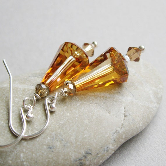 Reduced from  26 - Caramel Crystal Earrings -    Golden -  Sparkling -  Swarovski - Cone  -   Handcrafted  Jewelry