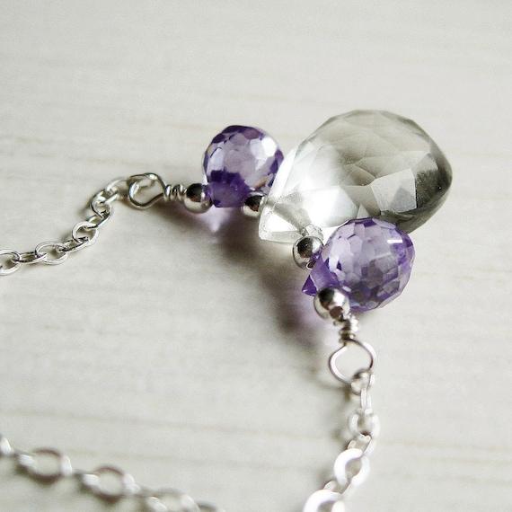 Amethyst Necklace - Green Amethyst,  Sterling Silver, Briolette Necklace,  Cubic Zirconia, Purple