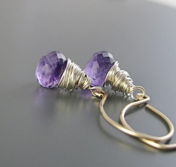 Amethyst  Earrings -  Sterling Silver, Birthstone,   Gold Filled,  Purple Earrings,  Wire Wrapped Jewelry, Amethyst Jewelry