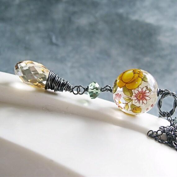 Crystal Necklace -  Swarovski Jewelry,  Golden Necklace, Oxidized Silver, Vintage,  Lucite, Crystal Jewelry