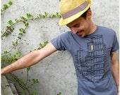 Don't Wait Up - mens t shirt - SMALL - city buildings screenprint on Alternative Apparel asphalt gray tshirt
