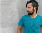 SALE - Tshirt for men - teal - MEDIUM - spring fashion - industrial camel graphic on American Apparel heather t shirt - The DESERTER