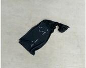 Leo Rising - unisex scarf - birthday gift - zodiac constellation screenprint on heather black jersey scarf