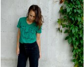 SALE - The Deserter Tshirt - spring fashion - womens LARGE - industrial camel screenprint on emerald green