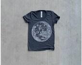Womens t shirt - SMALL - fall fashion - full moon screenprint on American Apparel heather black tees - My Moon, My Man