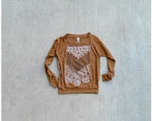 Womens pullover - boho fashion - SMALL - arrows and lace chest plate design on rust orange - THE NOMAD