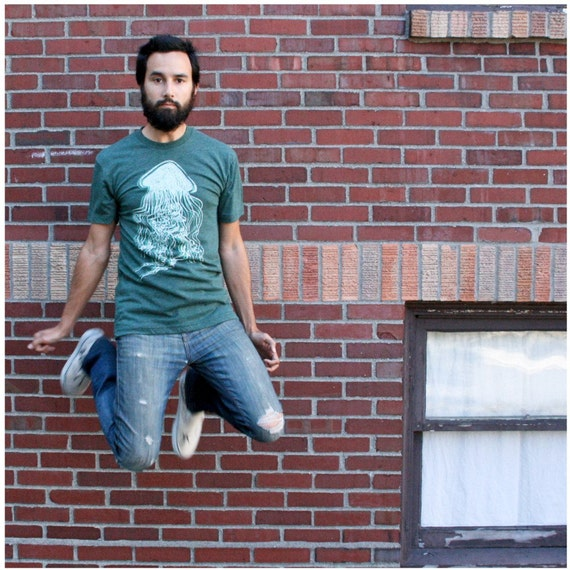 SALE - Mint Jelly T-shirt - men's small - nautical jellyfish print on heather forest green