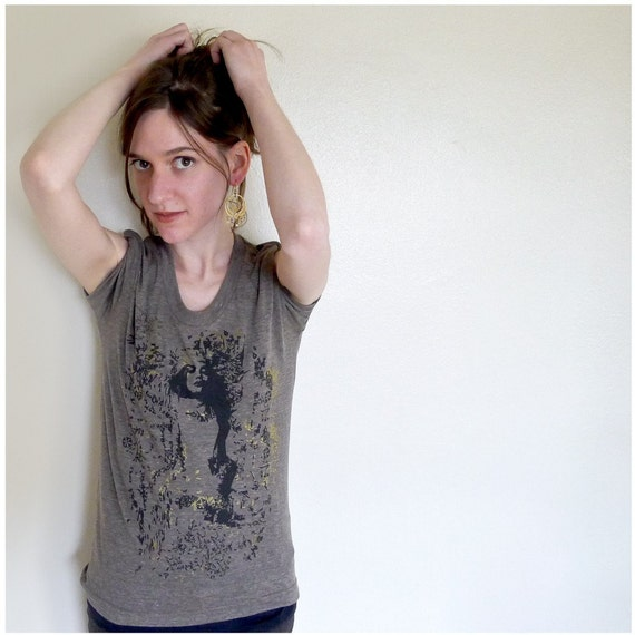"""SALE - Women's LARGE t shirt, brown, black, gold - gothic screenprint on American Apparel heather brown - """"Heads Will Roll"""""""