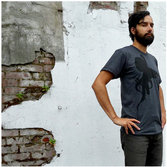 Sucker for Ink - tshirt for men - LARGE - nautical octopus screenprint on American Apparel heather black t shirt - mens fashion