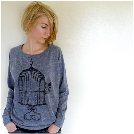 One That Got Away - spring fashion - womens pullover - LARGE - birdcage print on Alternative Apparel eco navy