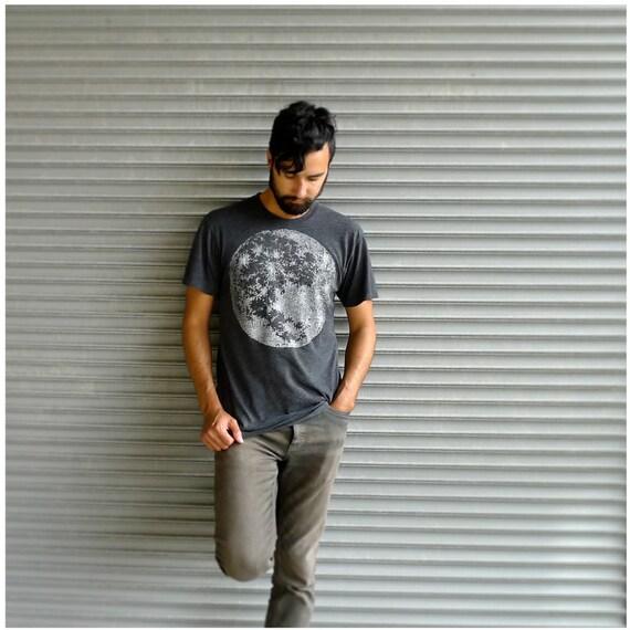 My Moon, My Man - mens tshirt - S/M/L/XL - full moon screenprint on American Apparel heather black - fall fashion